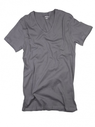 V Yaka Basic T-Shirt Gri