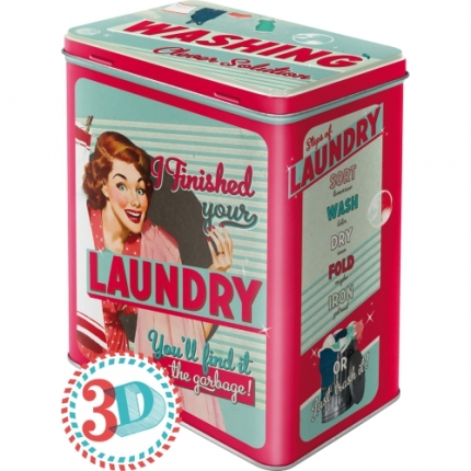 Nostalgic Art Washing Laundry Teneke Kutu Large